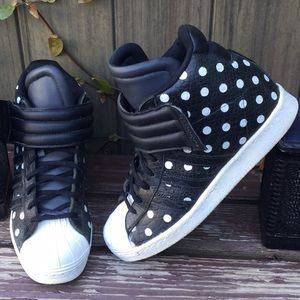 ADIDAS Leather Polka Dot Wedge High Top Sneakers